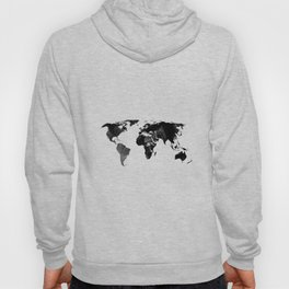 Black watercolor world map Hoody