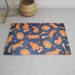 Foxes at Night - Cute Fox Pattern Rug