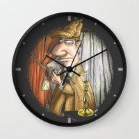 sherlock holmes Wall Clocks featuring Sherlock Holmes! by Berni Store
