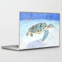 sea turtle Laptop & iPad Skins featuring Sea turtle by Savousepate