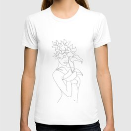 Minimal Line Art Woman with Flowers V T-shirt