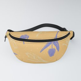 Sunny pattern with purple tulips Fanny Pack