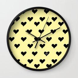 Retro Hearts Pattern Pastel Yellow Wall Clock