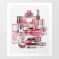 make up Art Prints featuring Make up by Illustra