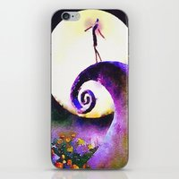 nightmare before christmas iPhone & iPod Skins featuring Nightmare Before Christmas by Melanie Tassone Art