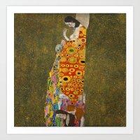 gustav klimt Art Prints featuring Gustav Klimt - Hope, II by TilenHrovatic