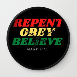 Repent, Obey and believe Yahuah (LORD) in the Bible Wall Clock