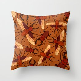 Red Stag Beetle Pattern Throw Pillow