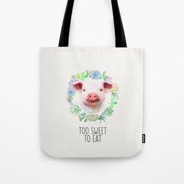 Too Sweet to Eat Vegan Statement Pig Watercolor Tote Bag