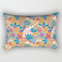 Yellow Flower Meadow– Blue Bell – Scandinavian Folk Art Rectangular Pillow