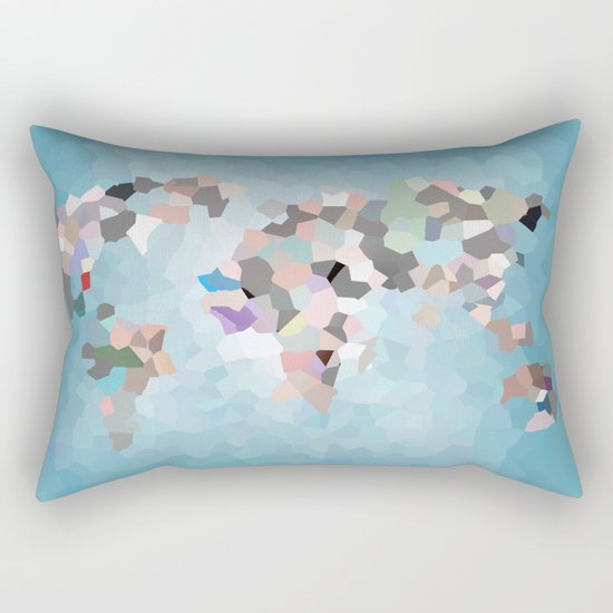 Travel Map Geometric Abstract of the World Rectangular Pillow