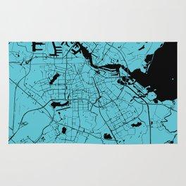 Amsterdam Turquoise on Black Street Map Rug