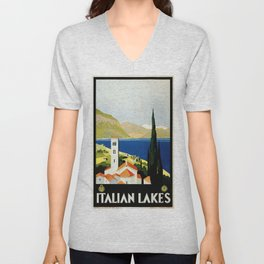 Italian Lakes - Italy Vintage Travel Poster 1930 Unisex V-Neck