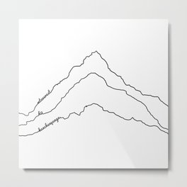 Tallest Mountains in the World B&W / Mt Everest K2 Kanchenjunga / Minimalist Line Drawing Art Print Metal Print
