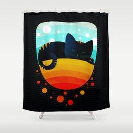 054 Sleepy kitty over the rainbow holding an owl on its tail Shower Curtain