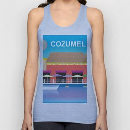 Cozumel, Mexico - Skyline Illustration by Loose Petals Unisex Tank Top