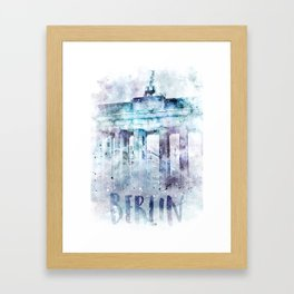 Modern Art BERLIN Brandenburg Gate | jazzy watercolor Framed Art Print