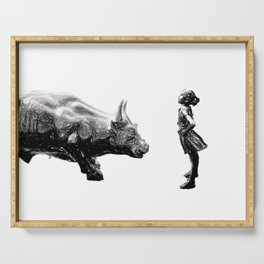 Feminist fearless girl charging wall street bull, Be Fearless Serving Tray