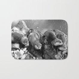Otters in mono Bath Mat