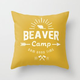 Beaver Camp: Dam Good Time (White) Throw Pillow