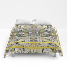 Passion Flower Baroque in Gold Yellow Grey Comforters