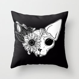 Sunflower Sphynx Skull - Hairless Cat - Creepy Kitten Throw Pillow