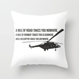 Helicopter with Quotation Throw Pillow