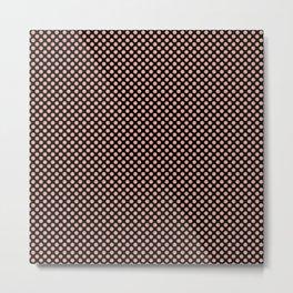 Black and Coral Pink Dots Metal Print