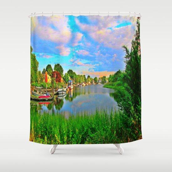 Lagoon Sunset Shower Curtain