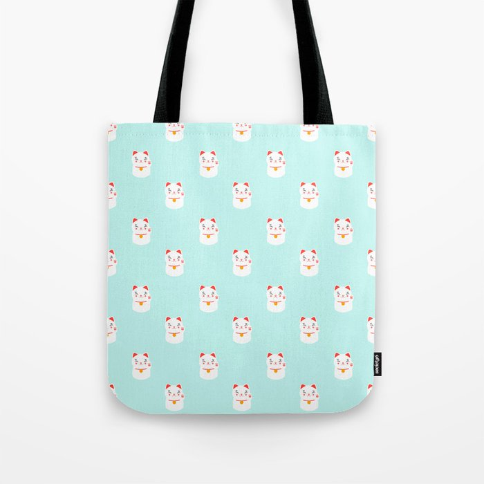 Lucky happy Japanese cat pattern Tote Bag