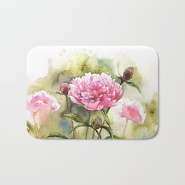 Peony Garden in Watercolor Olive Green and Pink Bath Mat