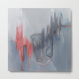 No. 15 Grey and Coral Ombre Pastel Abstract Painting  Metal Print