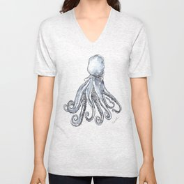 Octopus Watercolor Sketch Unisex V-Neck