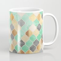 bedding Mugs featuring Charcoal, Mint, Wood & Gold Moroccan Pattern by micklyn