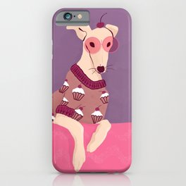 Cherry on Top - Greyhound Wearing a Cupcake Patterned Sweater iPhone Case