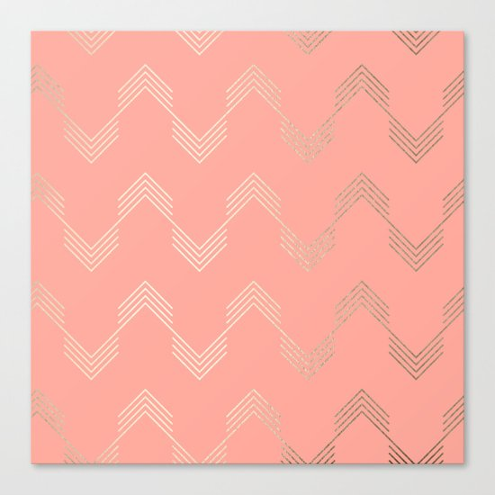 Simply Deconstructed Chevron White Gold Sands on Salmon Pink Canvas Print