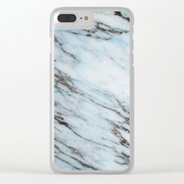 Aqua Black and White Marble Crackle Clear iPhone Case
