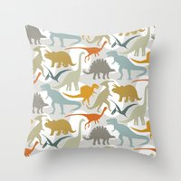 dinosaurs Throw Pillows featuring Dinosaurs by Jill Byers