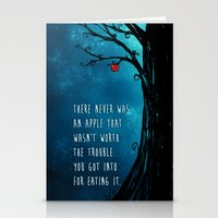 good omens Stationery Cards featuring Good Omens - The Apple by saehral