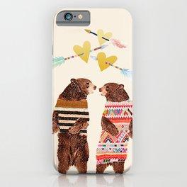 Dancing Bear Couple in Love iPhone Case