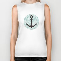 nautical Biker Tanks featuring Nautical Anchor by Ana Miller