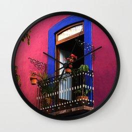 Balconies of Puebla  Wall Clock