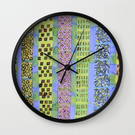 Blue Vertical Stripes and Ornaments  Wall Clock