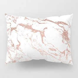 Modern chic faux rose gold white marble pattern Pillow Sham