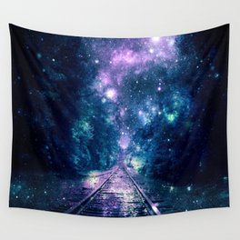 """Train Tracks : """"Next Stop, Anywhere"""" Purple Teal Wall Tapestry"""