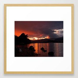 Loch Rannoch Blazing Sunset Framed Art Print