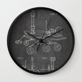 Nasa Mars Rover Patent - Mars Exploration Rover Art - Black Chalkboard Wall Clock