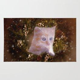 Christmas kitten watching the snow Rug