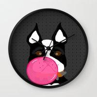 terrier Wall Clocks featuring Bubblegum Terrier by Designs By Misty Blue (Misty Lemons)