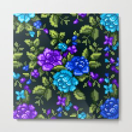 Pixel Floral - Blue on Black Metal Print